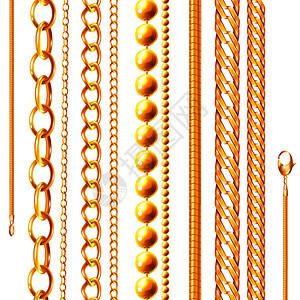 现实的链集,黄金珠宝链,各种形状阴影空白背景矢量插图图片