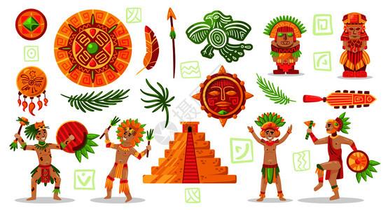 玛雅文明文化集涂鸦风格人物玛雅人部落珠宝项目矢量插图图片