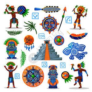 玛雅文明色彩图像的部落珠宝与人物的土著人空白背景矢量插图图片