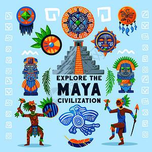 玛雅文明流程图背景构图与文字围绕着古代偶像人物象形文字传统珠宝矢量插图图片