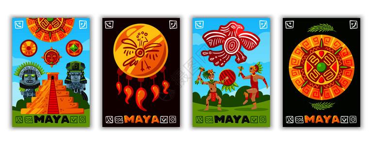 玛雅文明横幅与传统玛雅文字象形文字涂鸦人类人物部落珠宝项目矢量插图图片