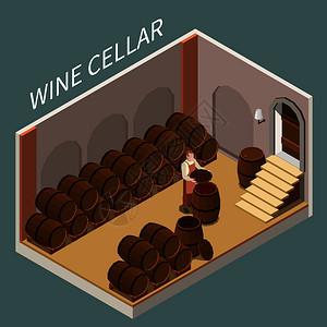 等距酒窖,大量的桶维格纳龙三维矢量插图图片