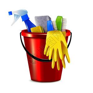 真实的桶清洗成与隔离图像的塑料桶与清洁用品消剂矢量插图图片