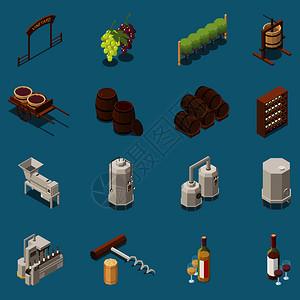 葡萄酒生产等距图标与酒厂设备桶葡萄捆绑瓶塞螺丝隔离蓝色背景三维矢量插图图片