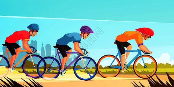 乡村道路自行车比赛卡通海报与三名骑手制服球衣头盔矢量插图循环竞技赛车卡通插图图片