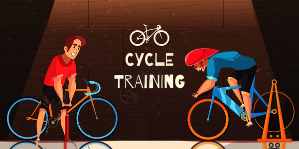 道路电路循环赛车室内训练与固定自行车试验运动员泵轮胎矢量卡通插图循环赛车训练卡通插图图片