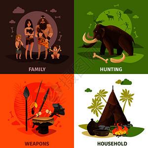 史前石器时代2x2与穴居人家庭狩猎家庭广场图标卡通矢量插图石材时代2x2理念图片