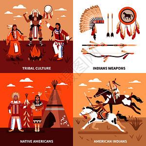 美国印安人2x2集部落文化印安土著美国人广场图标平矢量插图美国印安人2x2理念图片