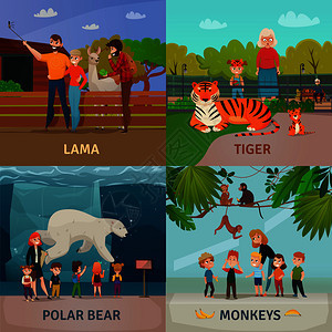 动物园游客4图标广场与儿童观看北极熊猴子老虎矢量插图动物园游客的图片