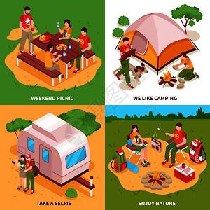 探险队4等距图标广场与露营帐篷商队野餐草地自拍孤立矢量插图远征等距图片