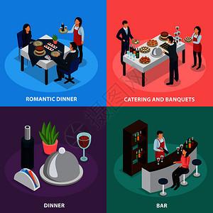 餐饮服务4等距图标广场与宴会自助餐酒吧订婚浪漫晚餐孤立矢量插图餐饮宴会等距图片