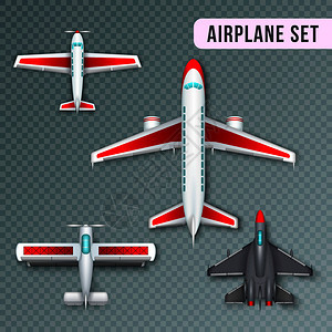 飞机乘客螺旋桨喷气式飞机用飞机真实的俯视图图像收集透明矢量插图飞机顶部视图图片