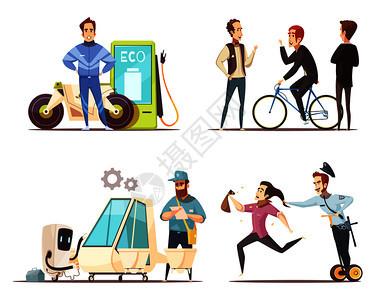 生态运输4卡通图标广场与电动汽车自行车绿色燃料摩托车孤立矢量插图生态运输卡通图标图片