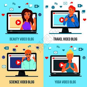 视频博客人物4平图标广场与旅游美容时尚科学瑜伽矢量插图视频博客人物平图片