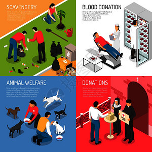 志愿慈善4等距图标广场与清道夫队献血动物收容所孤立矢量插图志愿等距图片