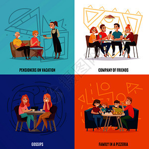 四个广场餐厅酒吧游客的与退休人员度假,朋友,闲聊家人比萨饼店描述矢量插图餐厅酒吧游客的图片