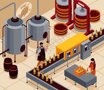 葡萄酒制造与压榨葡萄瓶装输送机老化饮料桶等距矢量插图葡萄酒制造等距插图图片