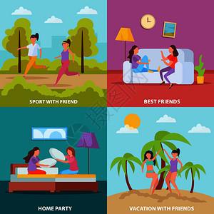 女孩友谊4正交图标广场与家庭聚会度假体育矢量插图女孩友谊正交的图片