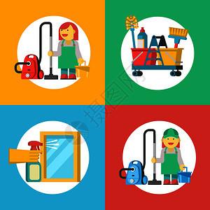 清洁服务清洁图标专业女佣穿着工作服,配备吸尘器清洁桶橡胶手套里的只手着个喷雾器,瞄准窗户图片