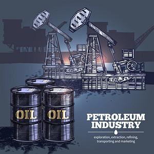 石油工业背景石油工业手绘合与桶石油前景石油平台的轮廓背景矢量插图图片