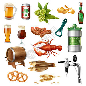 啤酒节啤酒图标收集啤酒节啤酒小吃配件彩色图标收集橡木桶龙虾椒盐脆饼孤立矢量插图图片