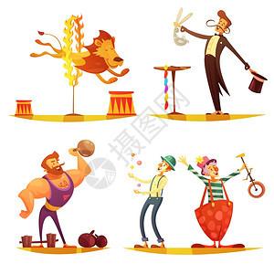 马戏复古卡通4图标广场旅游马戏复古卡通4图标广场构图与表演强壮小丑魔术师孤立矢量插图图片
