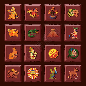 玛雅图标玛雅广场图标文明文化符号平孤立矢量插图图片
