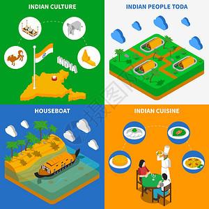 印度文化4等距图标广场印度文化美食游艇托达部落定居点4等距图标,方形海报抽象孤立矢量插图图片