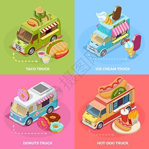 食品卡车4等距图标广场街头食品卡车4等距图标广场横幅与玉米饼冰淇淋甜甜圈矢量插图图片