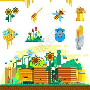 日记图标蜂房图标与蜜蜂蜂房蜂房蜂箱桶花园平风格矢量插图图片