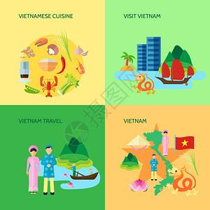 越南文化4平图标广场越南民族美食文化观光游客4平图标广场海报抽象孤立矢量插图图片