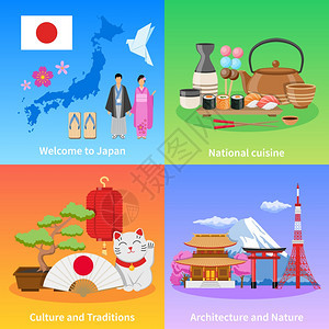 日本文化4平图标广场日本文化传统地标美食为旅行者4平图标成海报孤立矢量插图图片