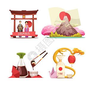日本文化4复古合套装日本文化传统为旅行者4复古卡通广场构图与寿司清酒孤立矢量插图图片