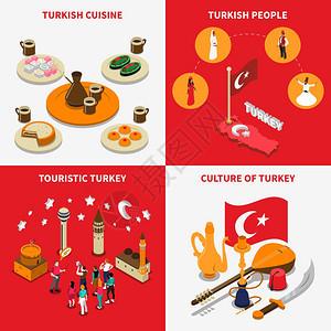 旅游火鸡4等距图标广场土耳其的旅游景点4等距图标广场与历史的罗西利卡清真寺地标矢量插图图片