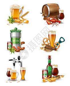 生啤酒插图套自来水啤酒非IC璃浴缸的成与啤酒桶,桶生麦芽小吃鱼矢量插图图片