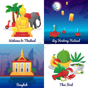 泰国文化4平图标广场泰国地标食品符号节日4平图标,方形海报,抽象孤立矢量插图图片