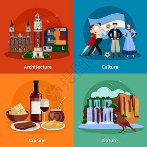 阿根廷景点4平图标广场阿根廷文化自然建筑民族菜肴4平图标广场构图孤立矢量插图图片