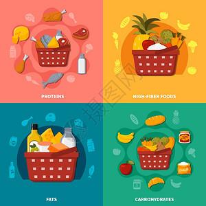 健康食品超市篮子成超市食品广场的成与篮子符号,膳食图标,蛋白质,高纤维脂肪,碳水化合物矢量插图图片