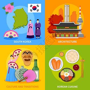 韩国文化4平图标广场韩国文化传统符号美食地标4平图标方形海报抽象矢量孤立插图图片