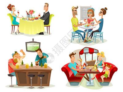 餐厅咖啡厅酒吧人4个图标餐厅咖啡厅酒吧4彩色图片广场与球迷家庭餐厅约会夫妇抽象矢量插图图片