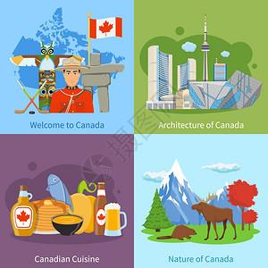 加大旅游4平图标广场加大文化地标自然美食为游客4平图标广场海报孤立矢量插图图片