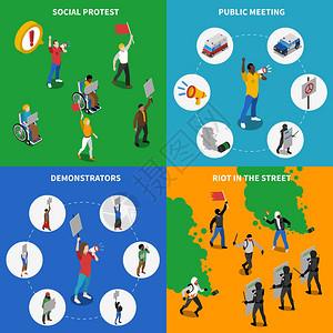 演示抗议4平图标广场平的社会政治抗议暴乱4等距图标广场海报抽象矢量插图图片