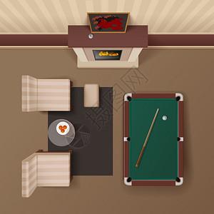 台球休息室俯视图真实图像酒店客房休息室配壁炉扶手椅台球桌,逼真的顶视图图像矢量插图图片
