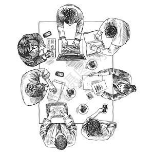 商务会议,俯视图,人坐平方表草图矢量插图图片