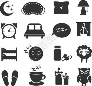 睡枕头床月亮猫头鹰z矢量图标固定的睡眠符号夜间休息z矢量图标固定的睡眠符号卧室时钟月亮和星图示图片