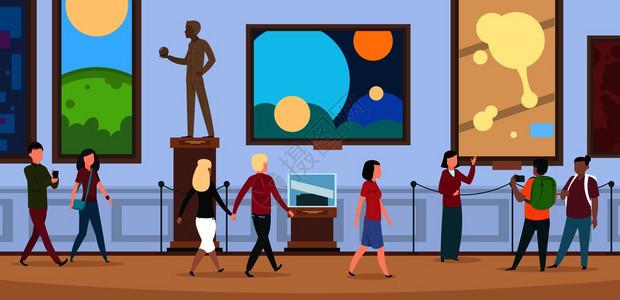 参观者在当代艺术展览的矢量图解中行走和观看绘画艺术品参观者在当代艺术展览中行走和观看绘画艺术品图片