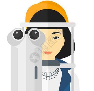眼科检查矢量平板设计插图与白背景隔离病人看眼科医生图片