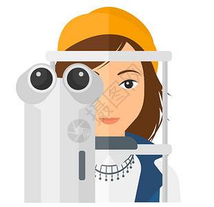 一名接受眼科检查的女病人在接受眼科检查时用白色背景方形布局病人看眼科医生隔绝的矢量平板设计插图图片