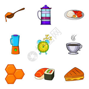 红茶图标集由9个甜茶矢量图标组成的漫画集用于白色背景的网络隔离红茶图标集动画风格图片
