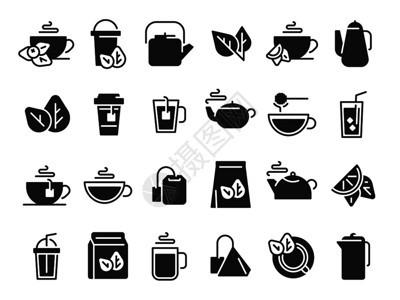 红茶圣杯热饮冷冰茶和壶配有蒸汽象形图机草药或薄荷茶标志生态叶牌和壶孤立的图标矢量黑茶叶圣杯冷冰茶和壶配有蒸汽象形图标矢量图片